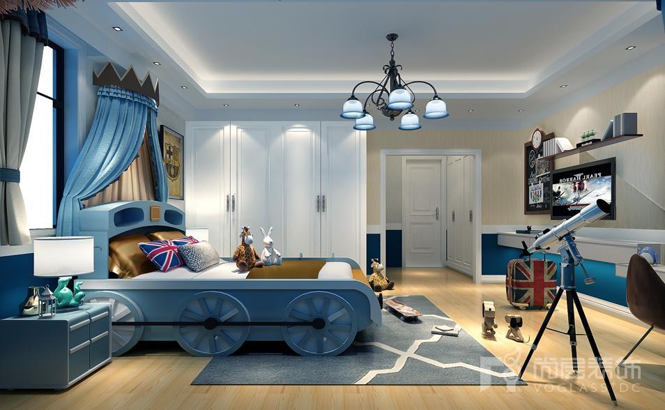 艾力枫社新中式儿童房别墅装修效果图