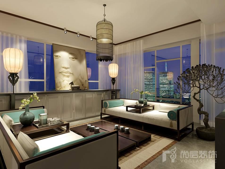尚峰尚水新中式会客厅别墅装修效果图
