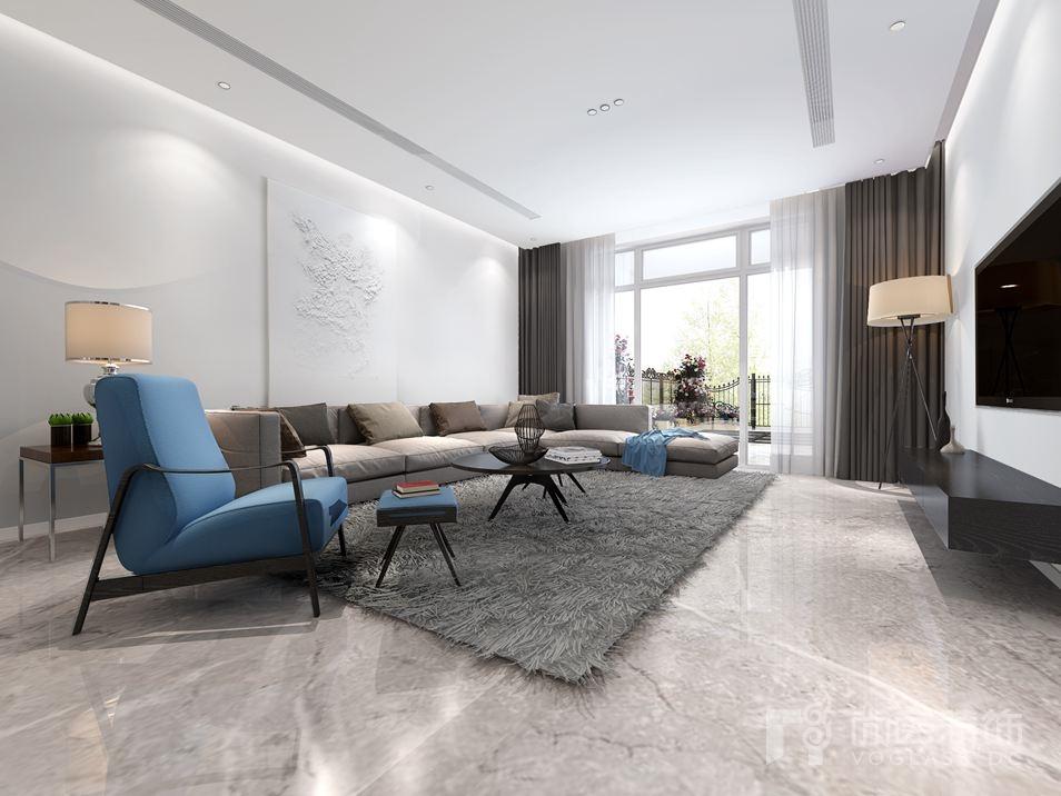 面采用灰白色仿大理石瓷砖与护墙板相结合的方式,色彩对比强烈,将设计
