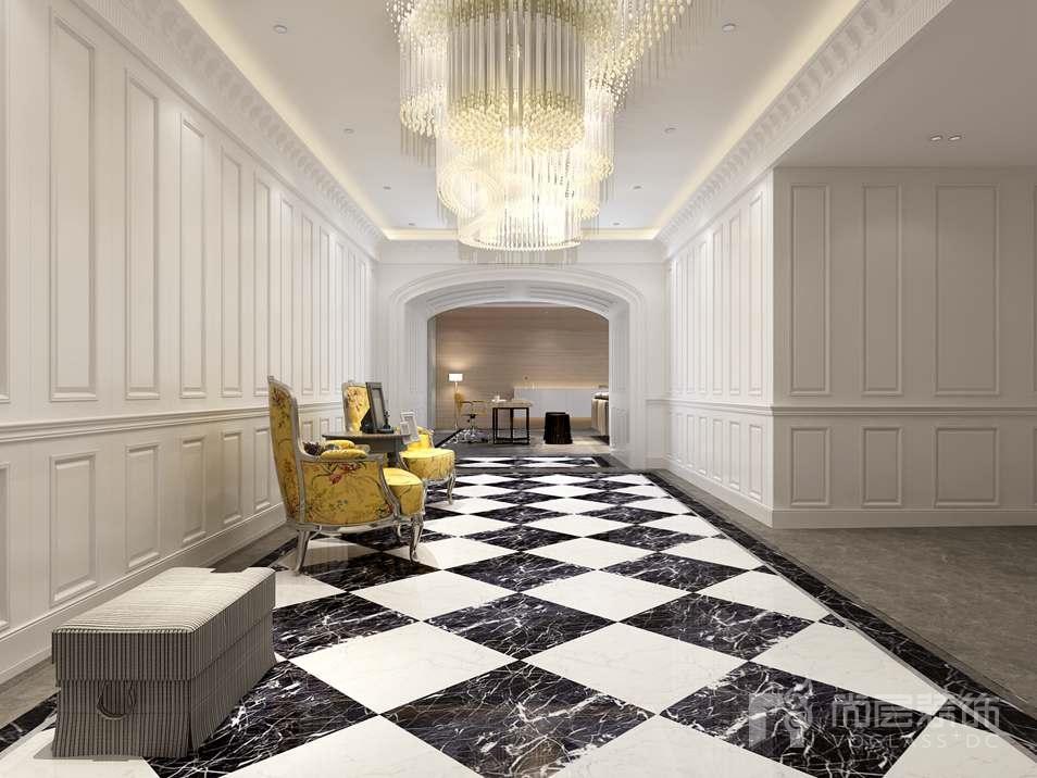 门厅处顶面采用漫反射环境光和点光源相结合的照明方式,墙顶面采用灰白色仿大理石瓷砖与护墙板相结合的方式,色彩对比强烈,将设计元素、色彩、照明、原材料简化到最少的程度,在功能性上入户右侧悬空的衣帽柜,充分满足业主在收储上的需要。