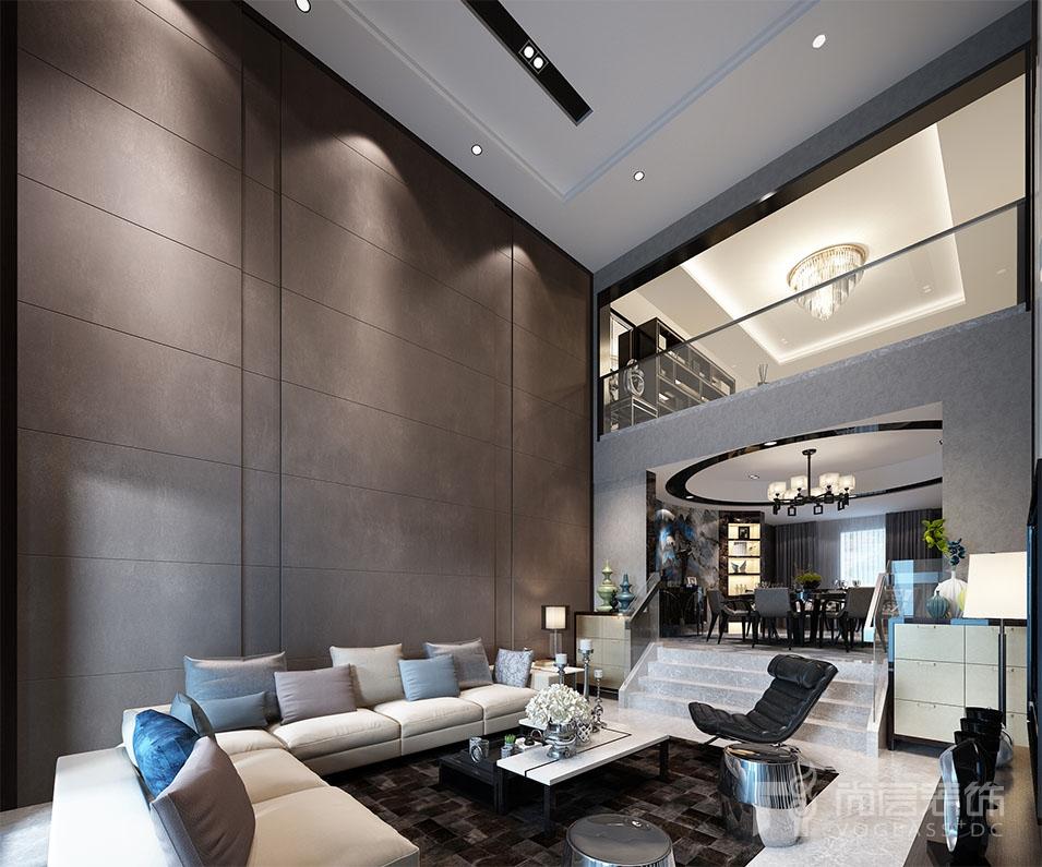 熙龙山院380平米别墅设计_高冷黑白灰演绎现代新时尚