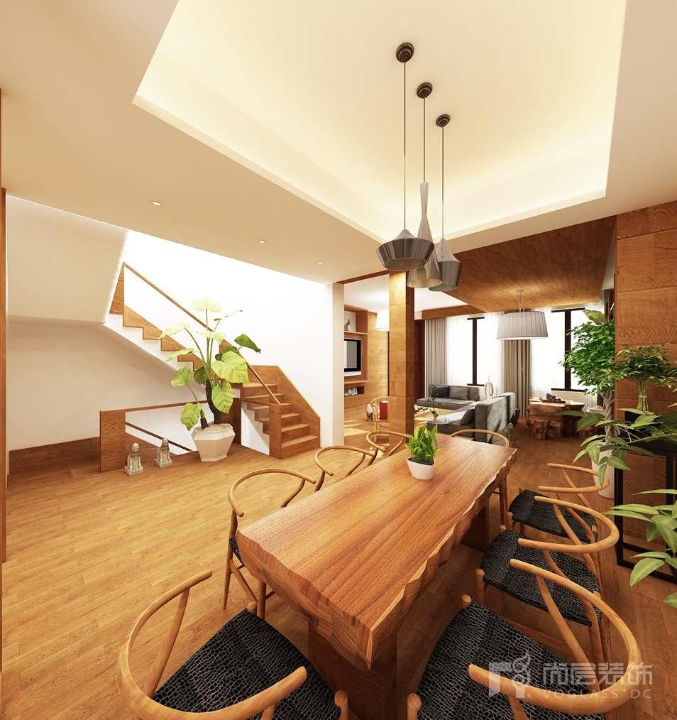 本案客厅电视背景墙采用实木地板饰面配合同材质几何