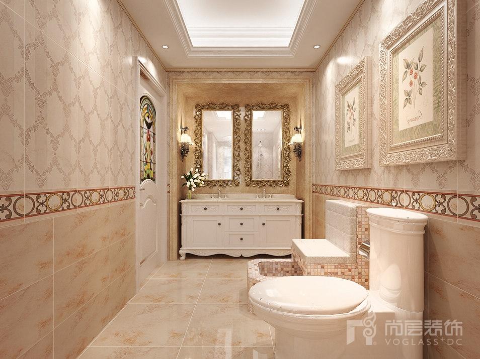 大空間的別墅裝修設計效果圖,整體的復式設計采用了仿古美式的風格