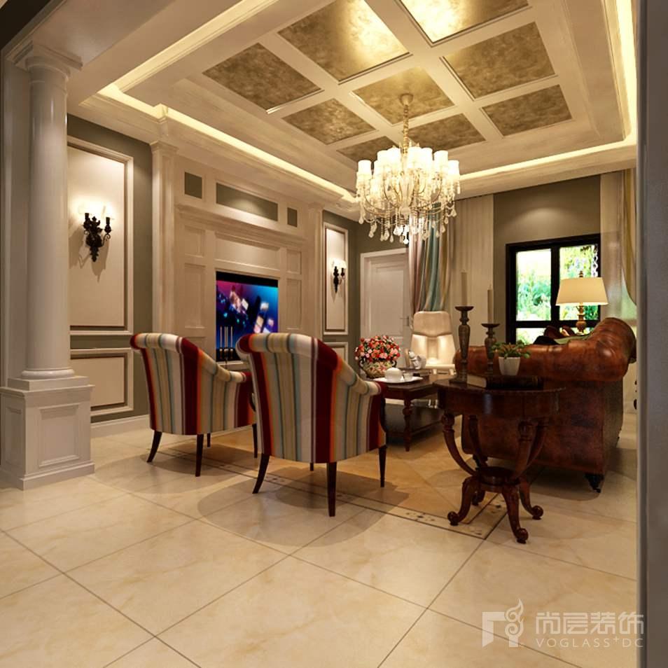 园墅美式客厅别墅装修效果图
