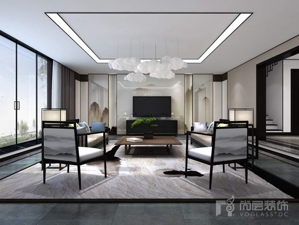 康城暖山新中式多功能厅别墅装修效果图