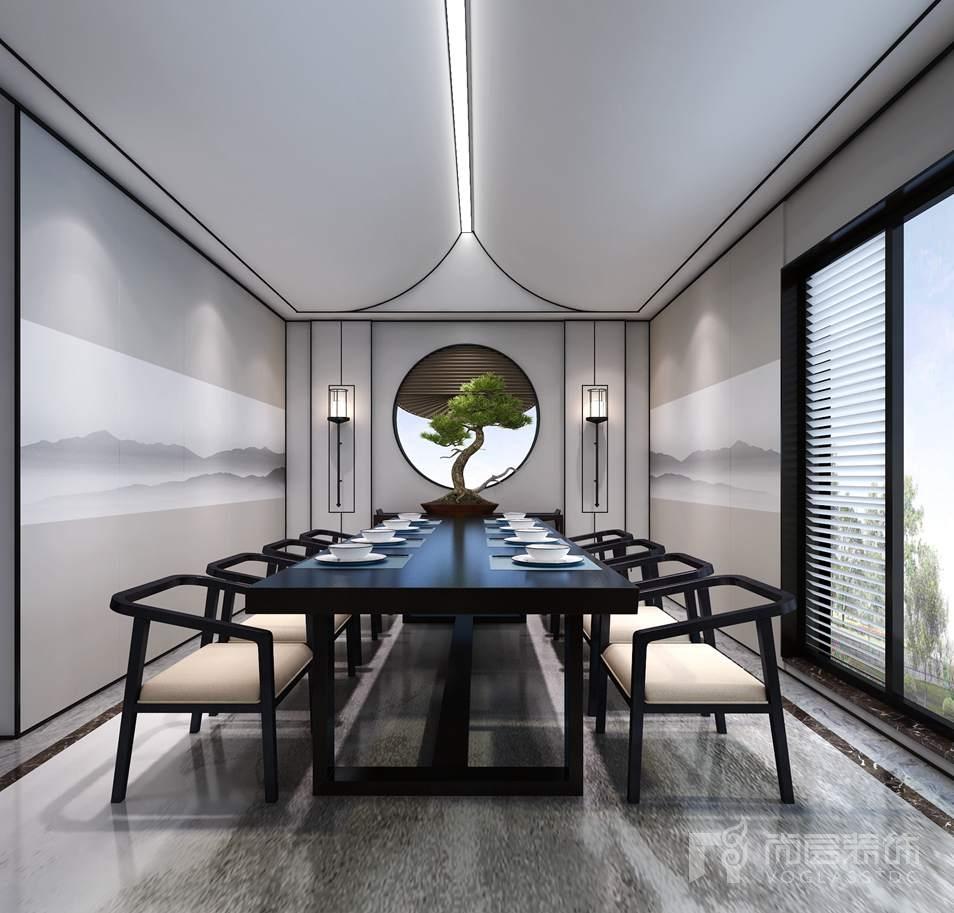 康城暖山新中式餐厅别墅装修效果图