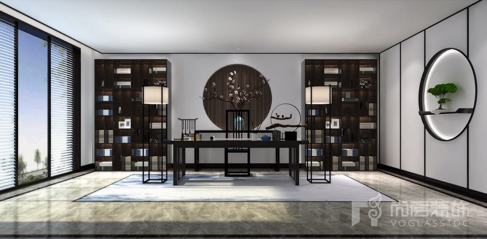 康城暖山新中式书房别墅装修效果图图片