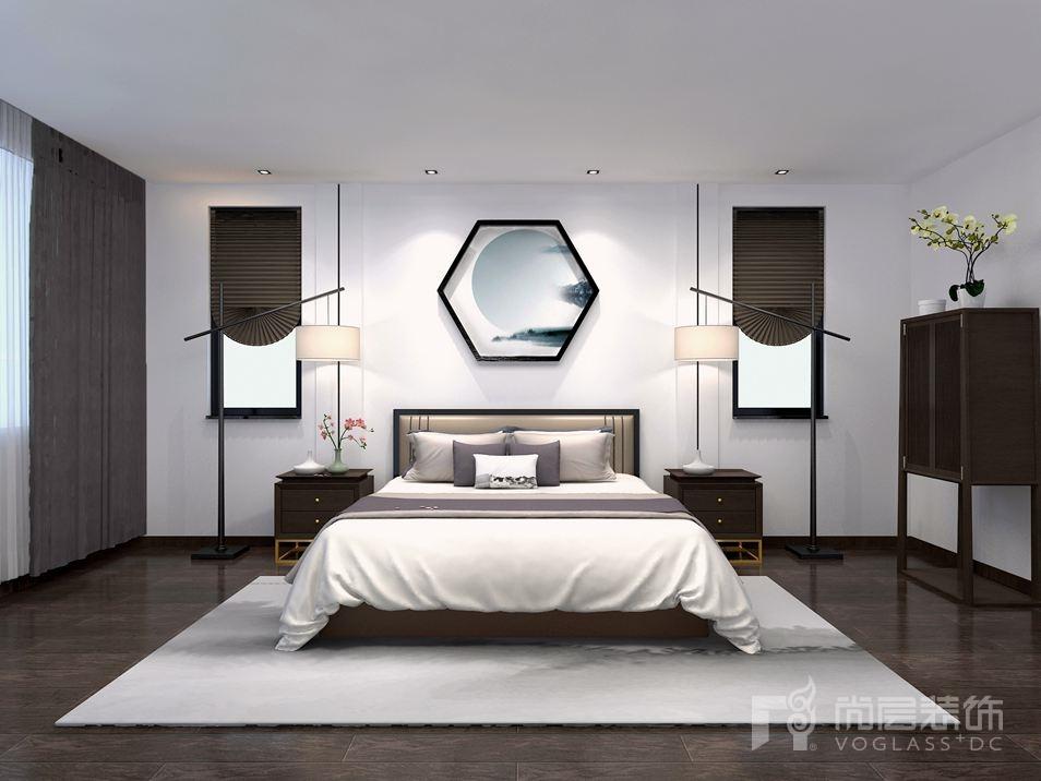 康城暖山新中式卧室别墅装修效果图