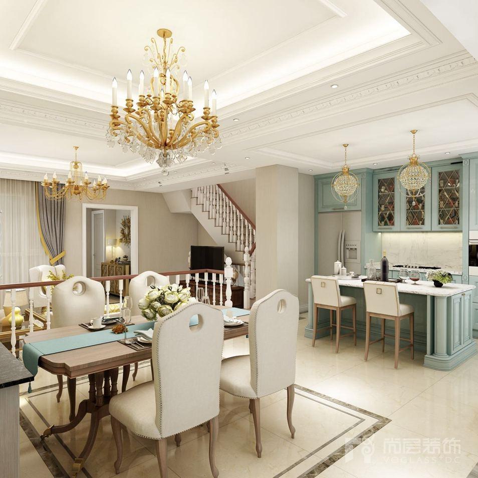 主卧摒弃美式别墅装修风格的随意和自由,白色的背景墙贯穿一图片