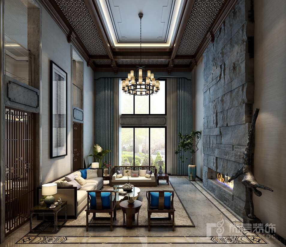 棕榈滩新中式客厅别墅装修效果图
