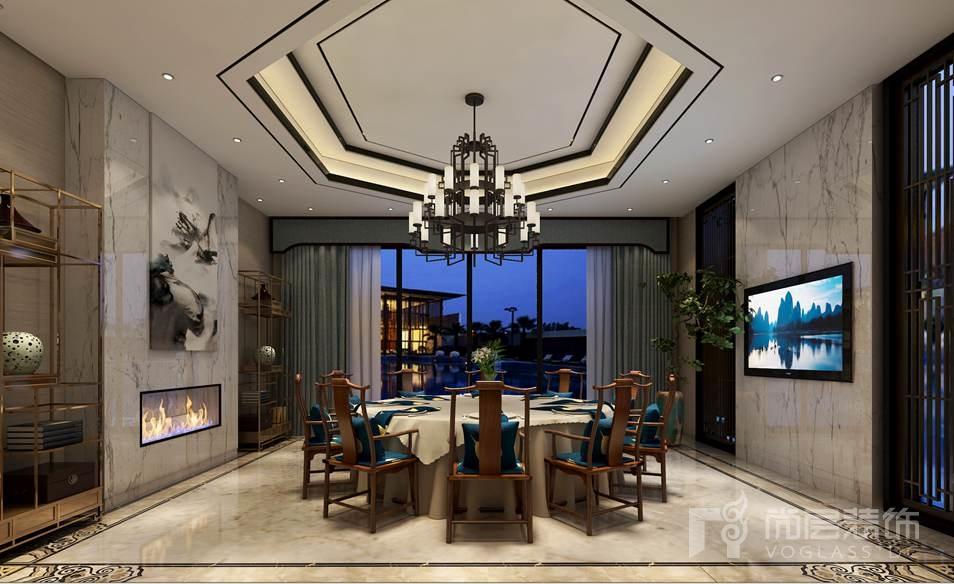 棕榈滩新中式餐厅别墅装修效果图图片