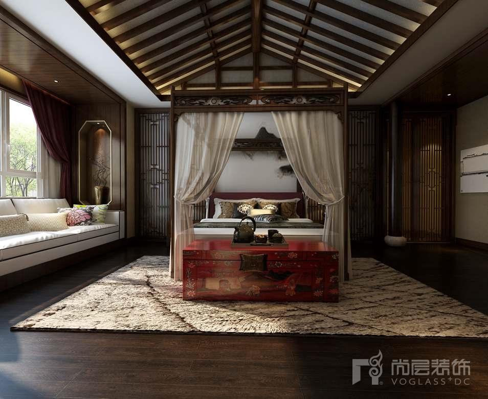 棕榈滩新中式卧室别墅装修效果图
