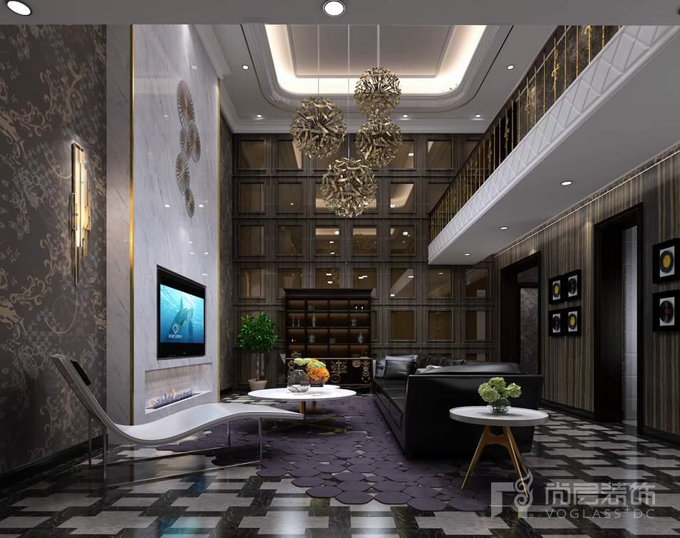 别墅装修地下部分通过挑高浑然一体,黑色,灰色,金色,理石,黑檀