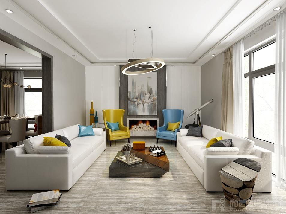 会客厅采用中心对称的手法,墙板与壁炉的结合配以木纹地砖,展现出一种简单大气的空间。现代家具在空间中的陈设运用,营造出不同的功能效果,两把色彩跳跃的现代椅,极具优雅与时尚感,与角落处的艺术装饰瓶汇成一道绚丽的景色。在现代风格的空间,搭配一盏简约的时尚吊灯,点亮了设计的创意,也照明生活的格调。