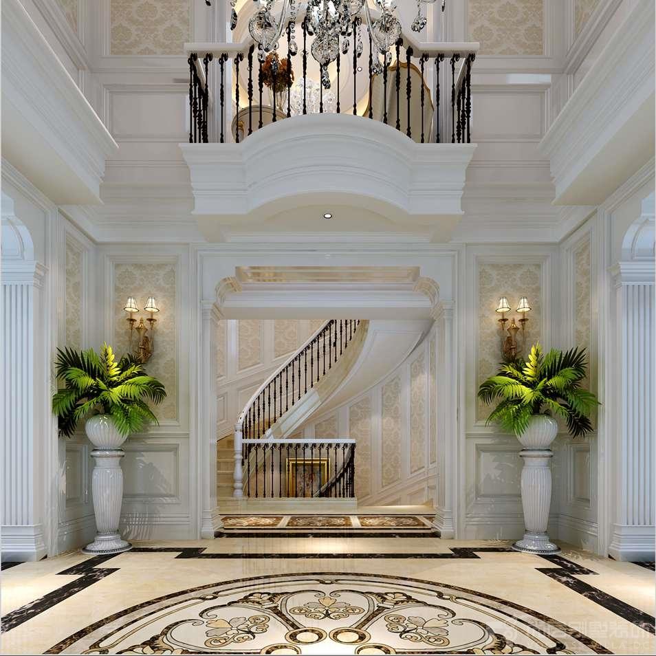 润泽庄园欧式一楼楼梯别墅装修效果图