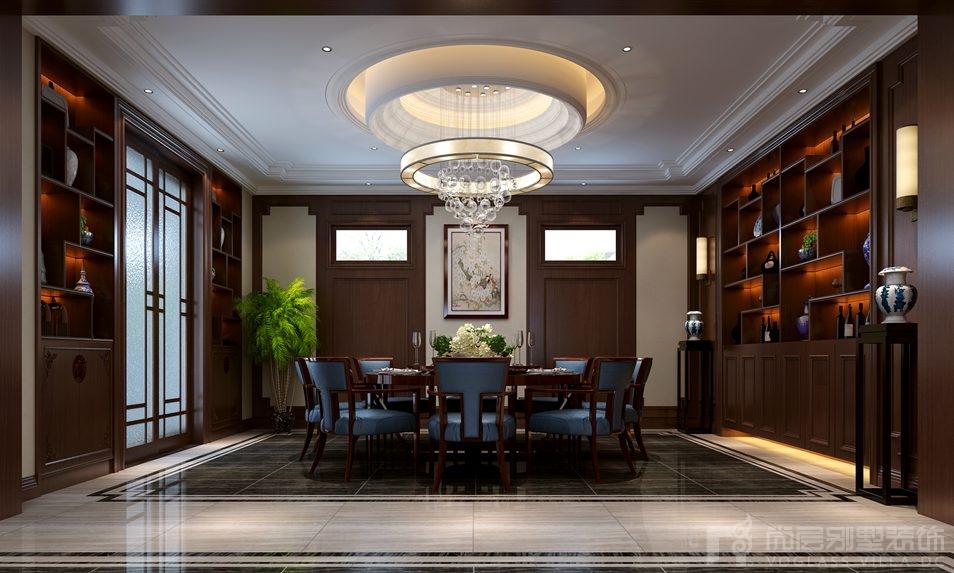 别墅装修设计师在设计中充分体现了新中式风格中所讲究的空间的层次图片