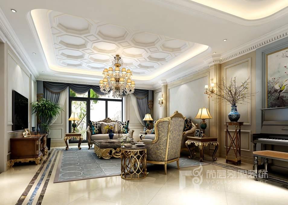 沿袭古典法式风格的主元素,融入了现代的生活元素,简单、自然、低调的设计理念融入设计当中,是本案的设计主题。地上一层入户层作为主要的会客区域,石材拼花的门厅正式感十足,墙板与壁纸相结合的墙面设计,整个空间典雅而稳重,进口的意大利家具,精致的木质雕花是一见精美的艺术品,更是一种文化的传承。