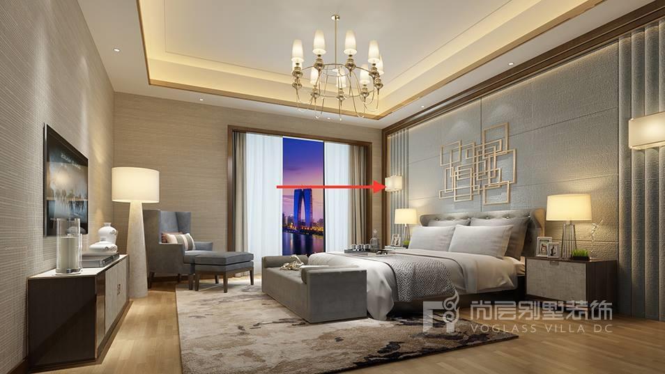 设计师将主题定为现代奢华的贵族公馆,既体现了现代主义的优雅,又融合了简约欧式风格的精致。室内设计手法上,简化了线条的繁琐装饰,以层次丰富而稳重的简化木线条和金属取而代之,使室内空间厚重而不繁琐。材质颜色以大地色系为主,材质上用了金属、高级定制的石材、进口壁布、精致的水晶灯、墙面软包图案、空间鲜明的个性色彩、家具造型丰富多样,在局部光源的烘托下,尽显精致、优雅的空间格调。