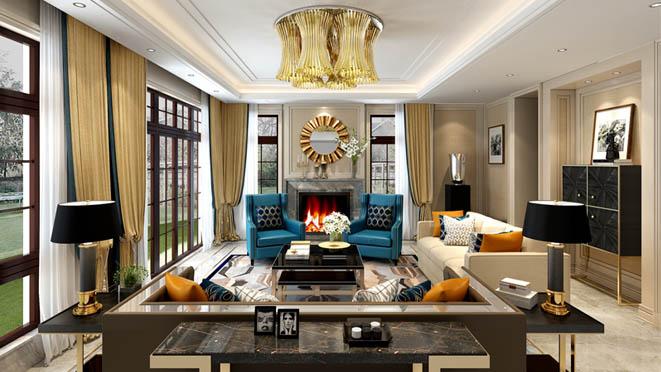 金地中央世家新古典客厅别墅装修效果图