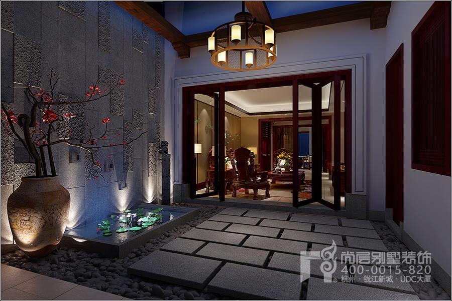 地下室门厅        别墅装饰设计地下室安置了两个中式风格的会客厅