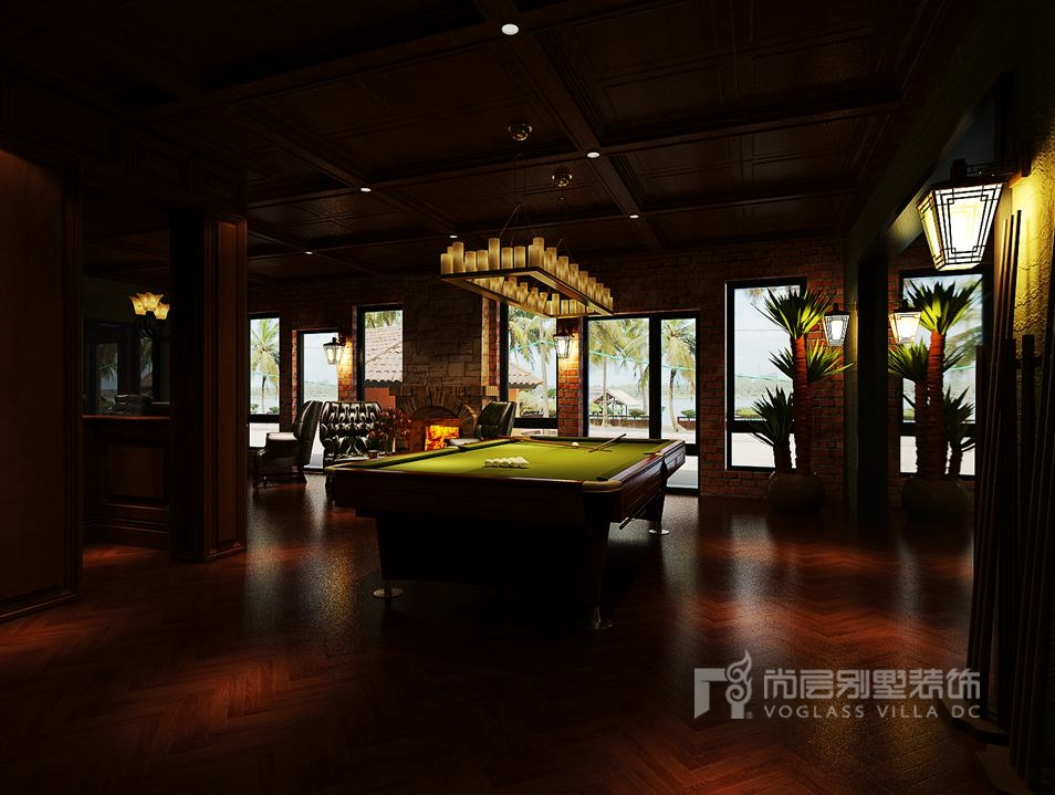 两把深绿色欧式造型的单人沙发……酒吧区俨然成为一个19世纪的小酒馆