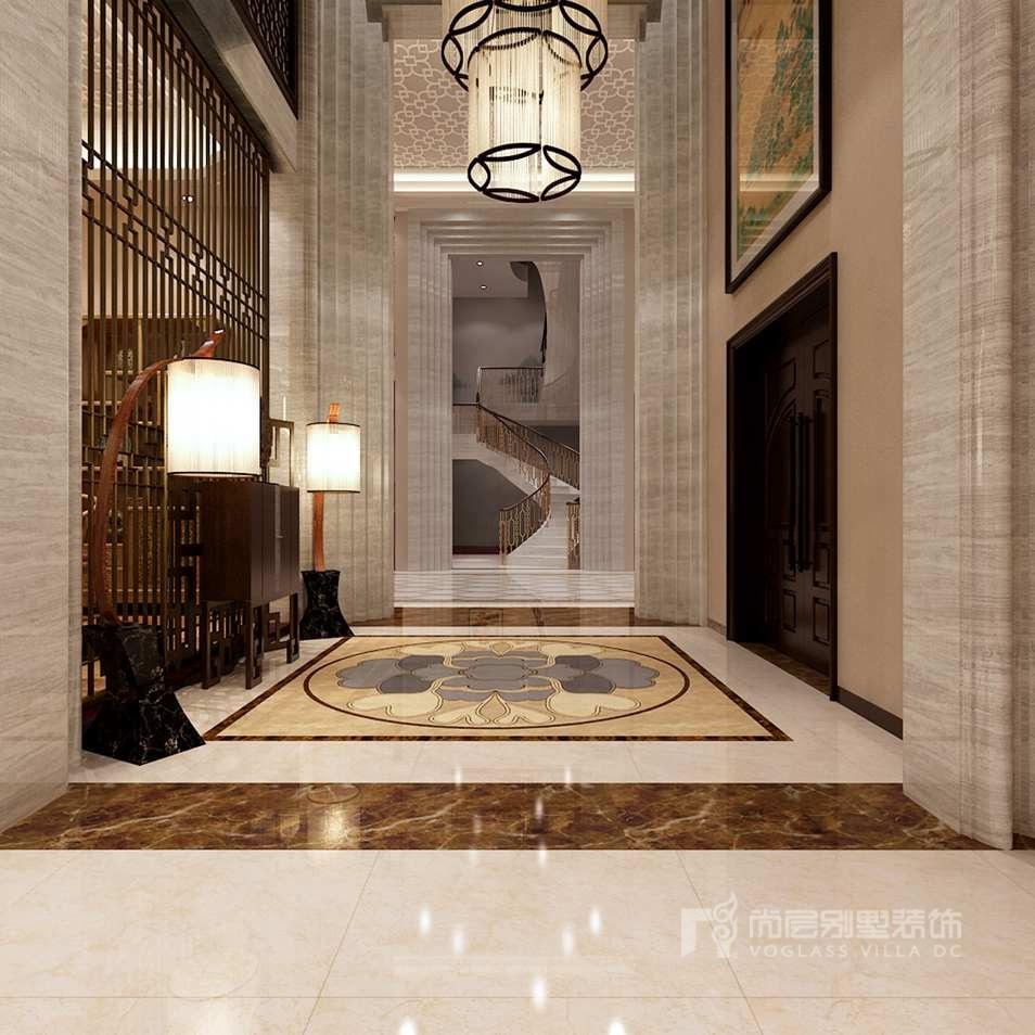 双珑原著新中式门厅别墅装修效果图