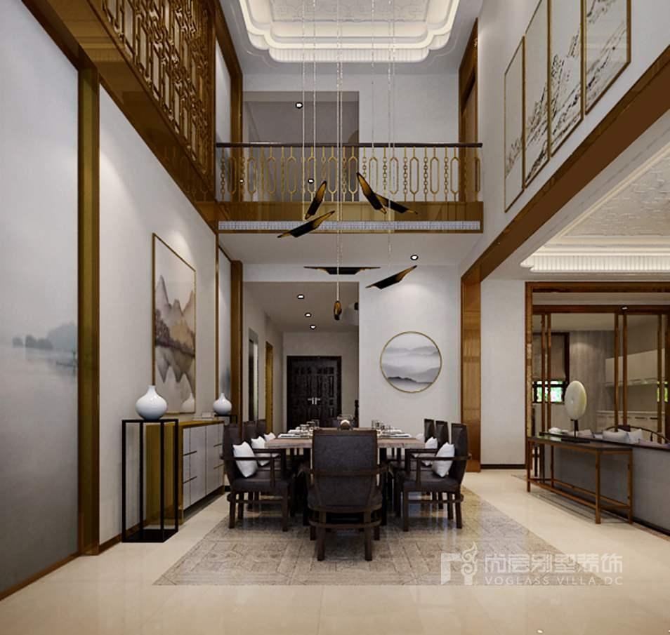 双珑原著新中式餐厅别墅装修效果图图片