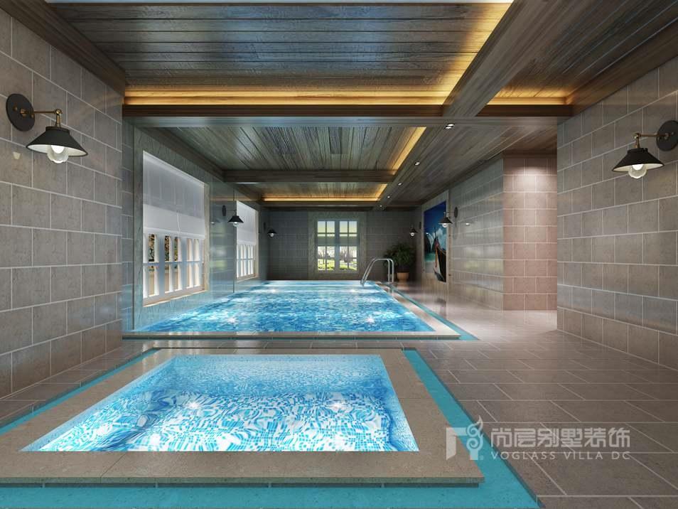 室内游泳池的设计,也展现了业主对生活品质的要求,花园景色从窗户透