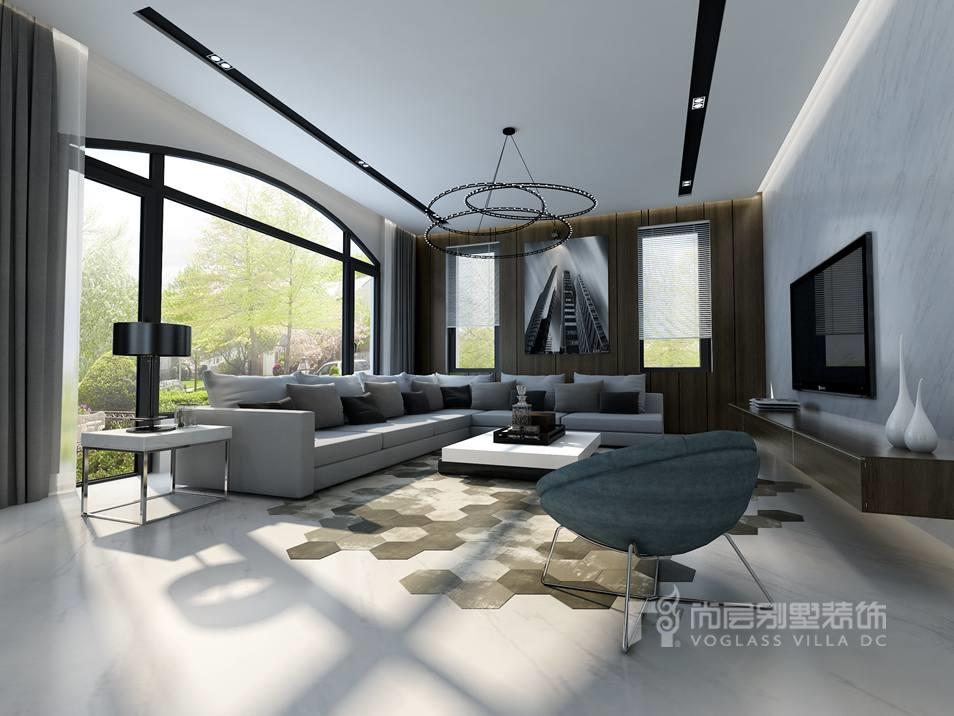 富力丹麦现代简约客厅别墅装修效果图