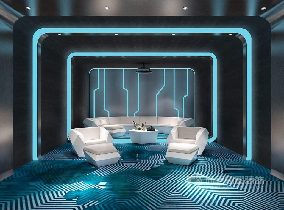 未来感影音房,热带风情水疗吧,下沉式爵士酒吧,构成了一份休闲心三段时空感。迷幻的电光蓝,还有未来感线条,被用在影音房的设计中,就此一场电影《X战警》诞生在空间设计之中  久居都市的人们需要找到一种放松舒缓的减压方式,SPA恰好就是能帮助人达到身、心、灵的健美,空间中融入绿植更能让使用者身临其境温泉浴缸的周围以原木构建、铺设鹅卵石,木质材料和香芋色纱帘搭配天井处的热带植物景观。  原本的游泳池改造成了一个LOFT 形式的下沉酒吧,针对环境借题发挥,使得酒吧具有与生俱来的爵士气息。在这个昏暗的酒吧里,