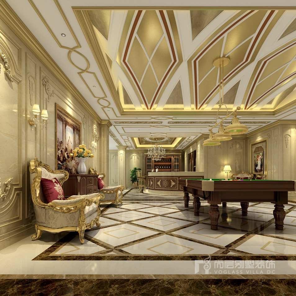 法式风格致力于表达浪漫的情怀,地下室的装饰亦是如此,金色线条的吊顶图片