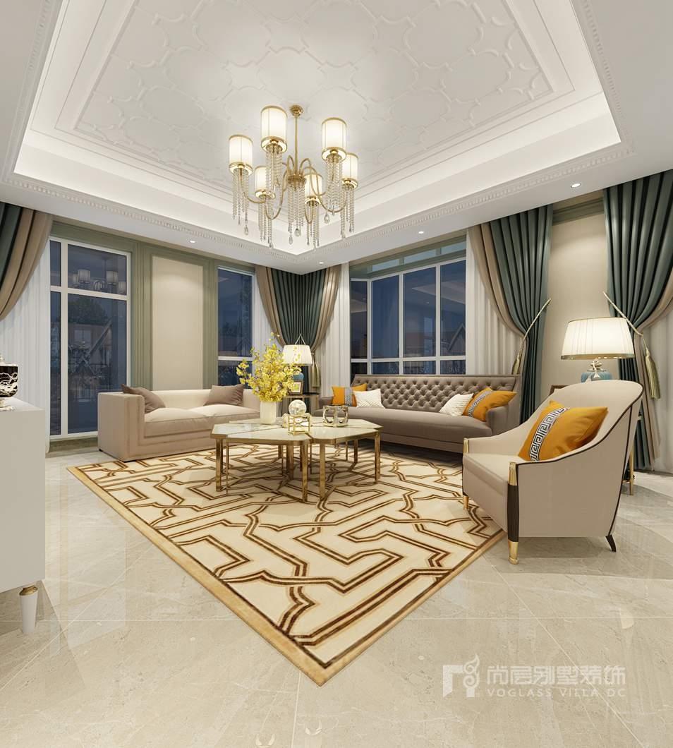 鲁能七号院美式轻奢客厅别墅装修效果图