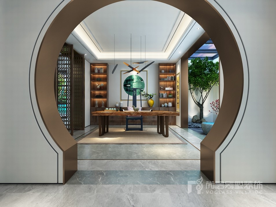 别墅负一层的设计中,主题格调与上面不同,引进了新中式元素,休闲区,画图片