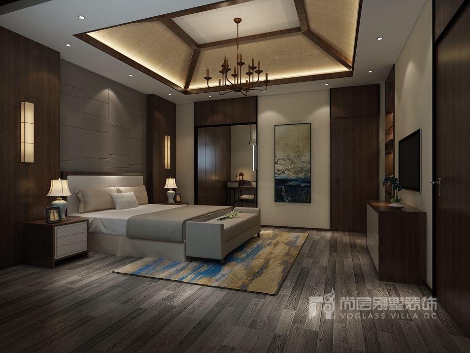 远洋天著新中式卧室别墅装修效果图