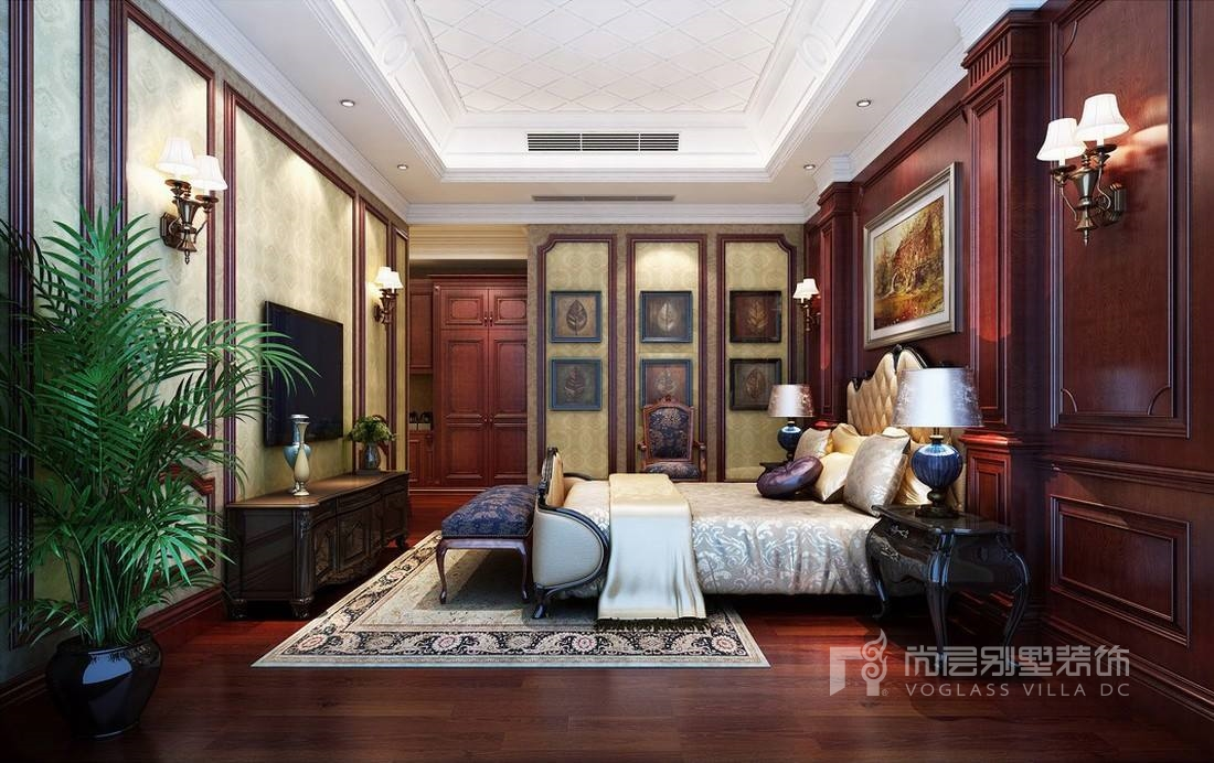卧室的布置较为简单大方,用浅色欧式墙纸大面积使用,使色彩更偏向居家