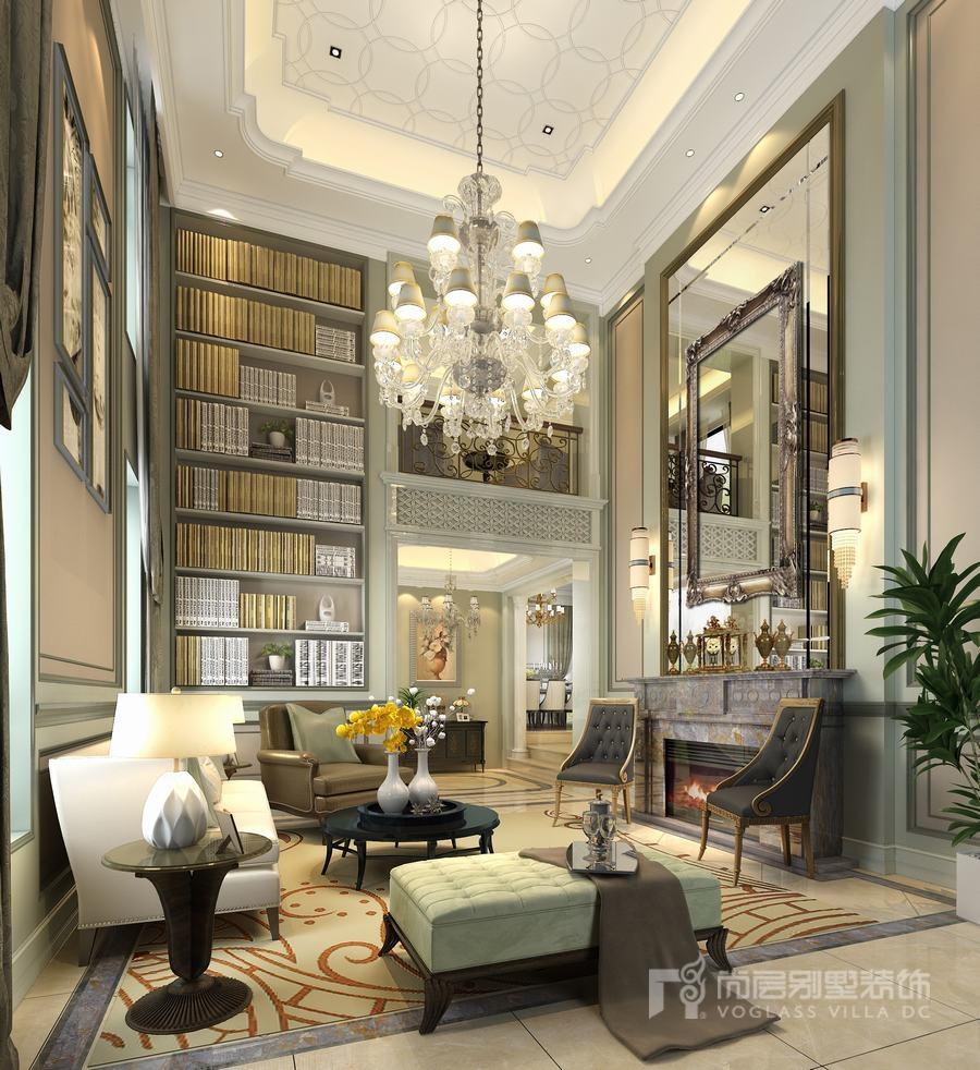 欧式奢华风双拼别墅客厅装修设计效果图