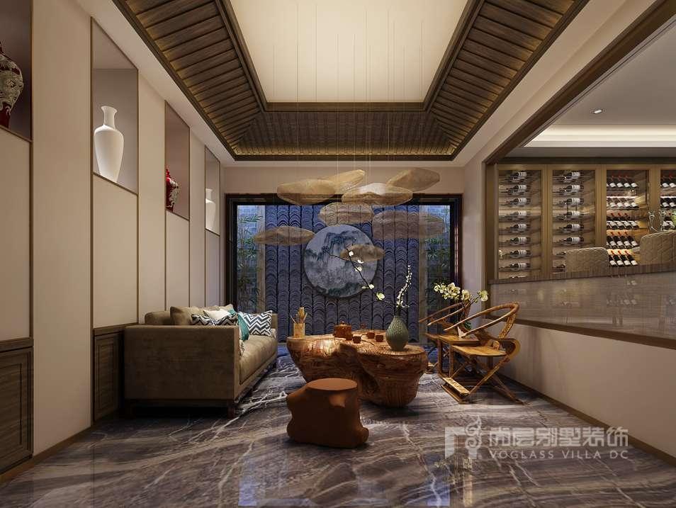 紫禁壹号院别墅新中式茶室装修效果图图片