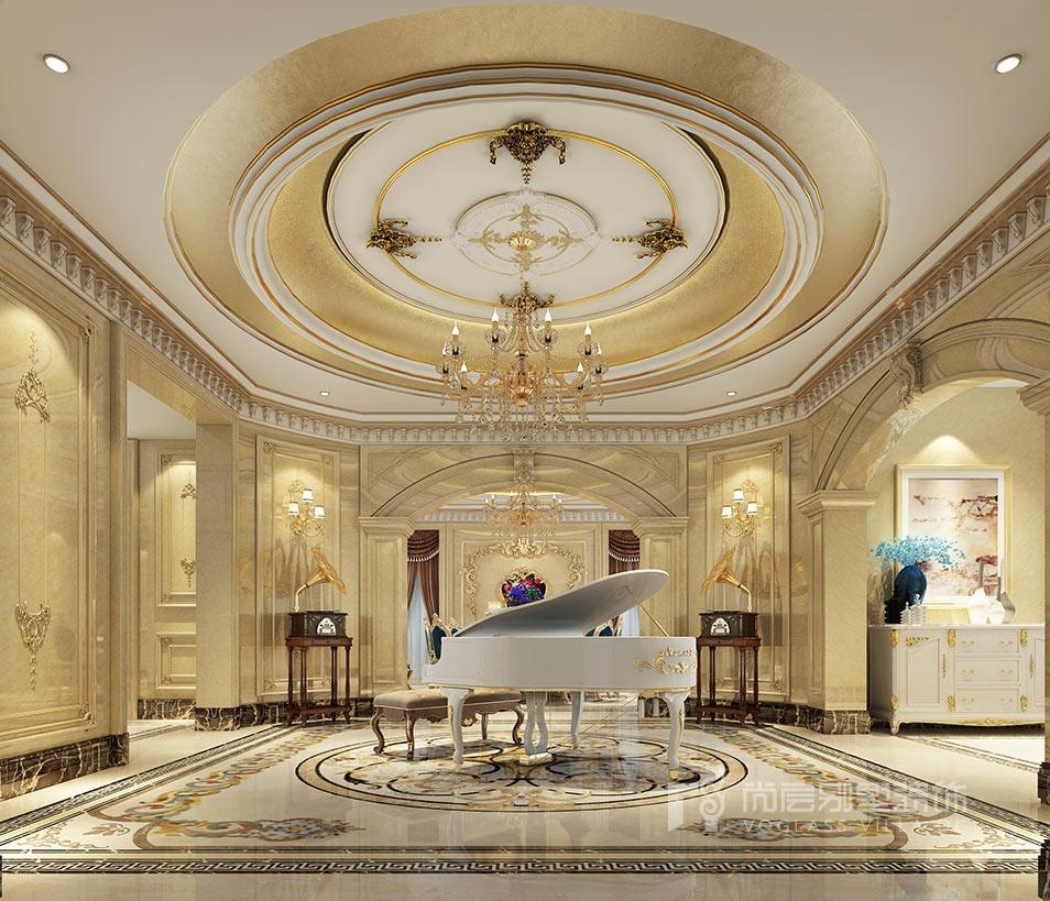 金科王府欧式风格钢琴区装修效果图